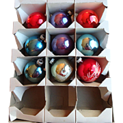 Mid-century Shiny Brite glass Christmas Ornaments, set of 9
