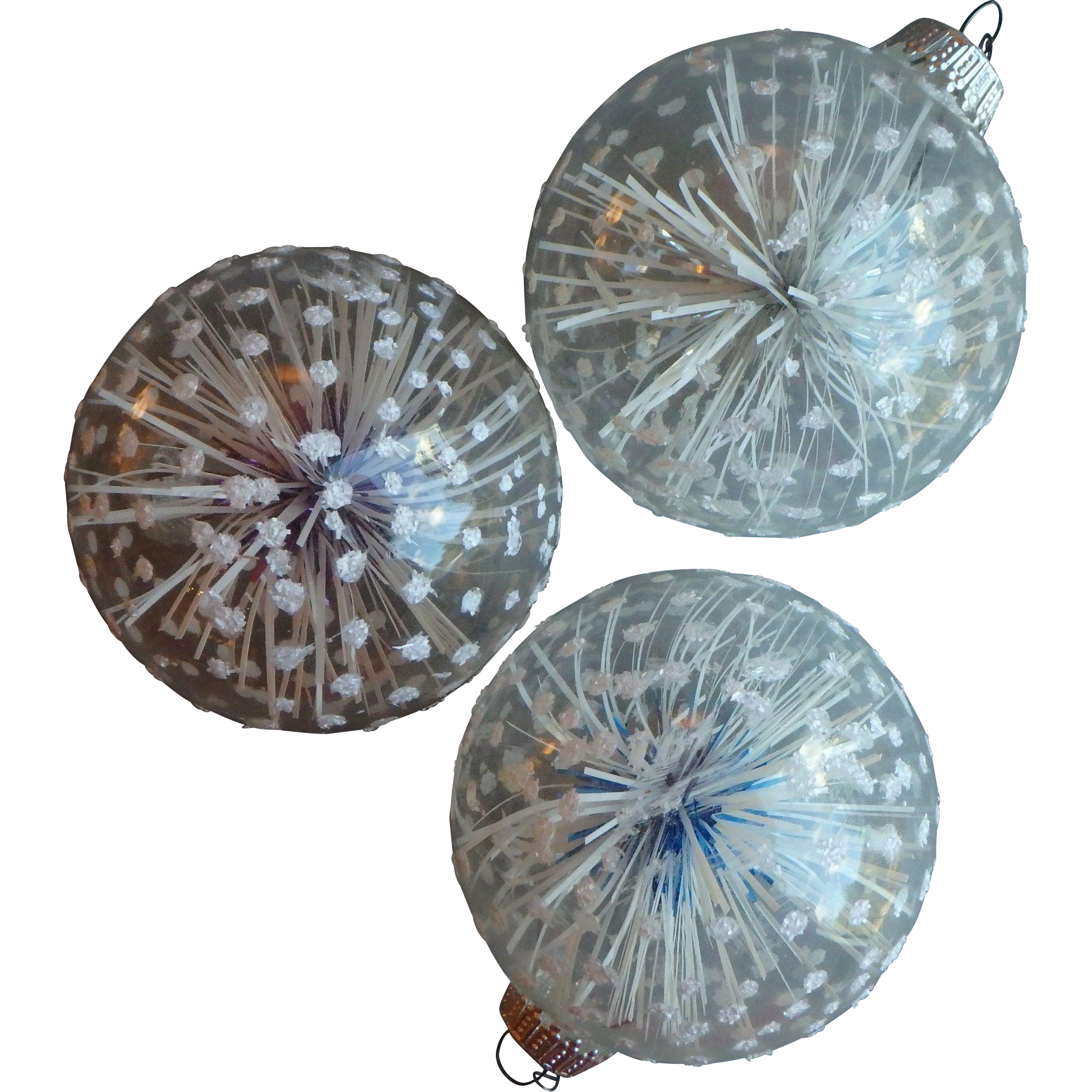 Three Large Vintage Christmas Ornaments, Germany