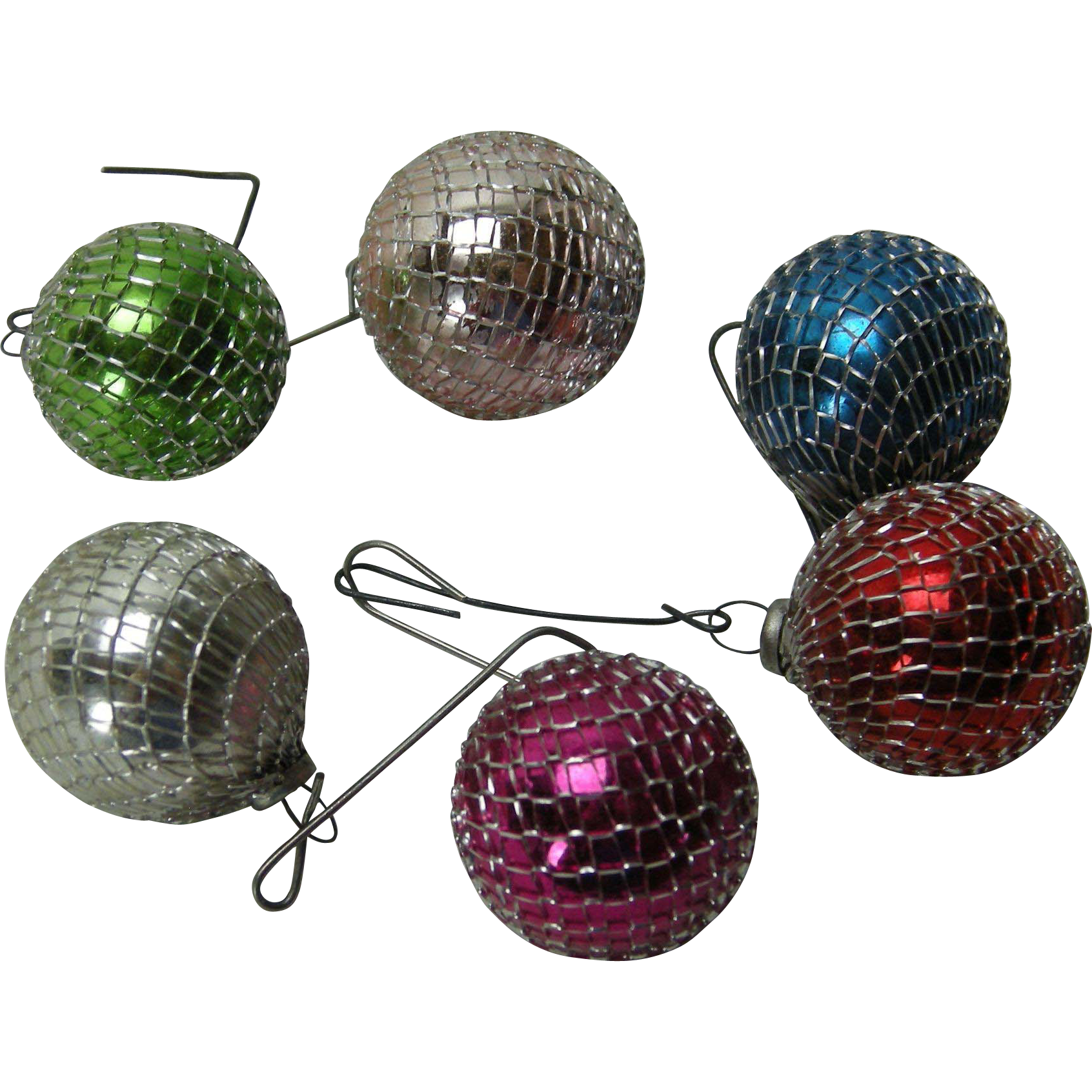 Vintage Feather Tree Christmas Ornaments with Silver Mesh set of 6
