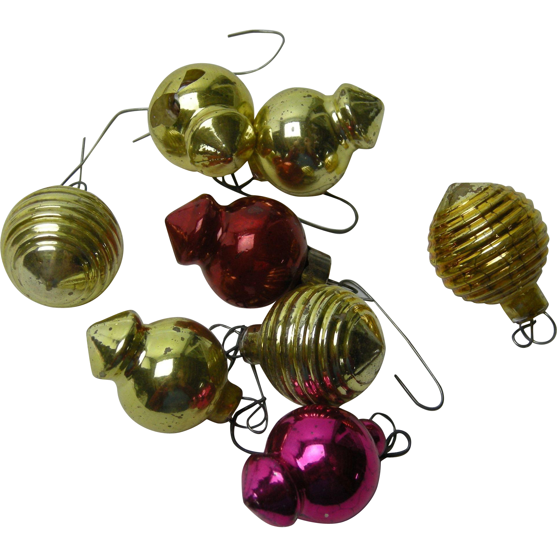 7 Feather Tree Christmas Ornaments, unusual shapes