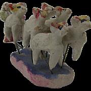 Vintage Primitive Folk Art Christmas Garden shepherdess and Sheep, Mexico