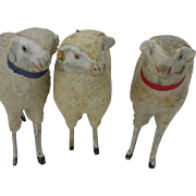 3 Vintage Christmas Putz Wooly Sheep, Germany
