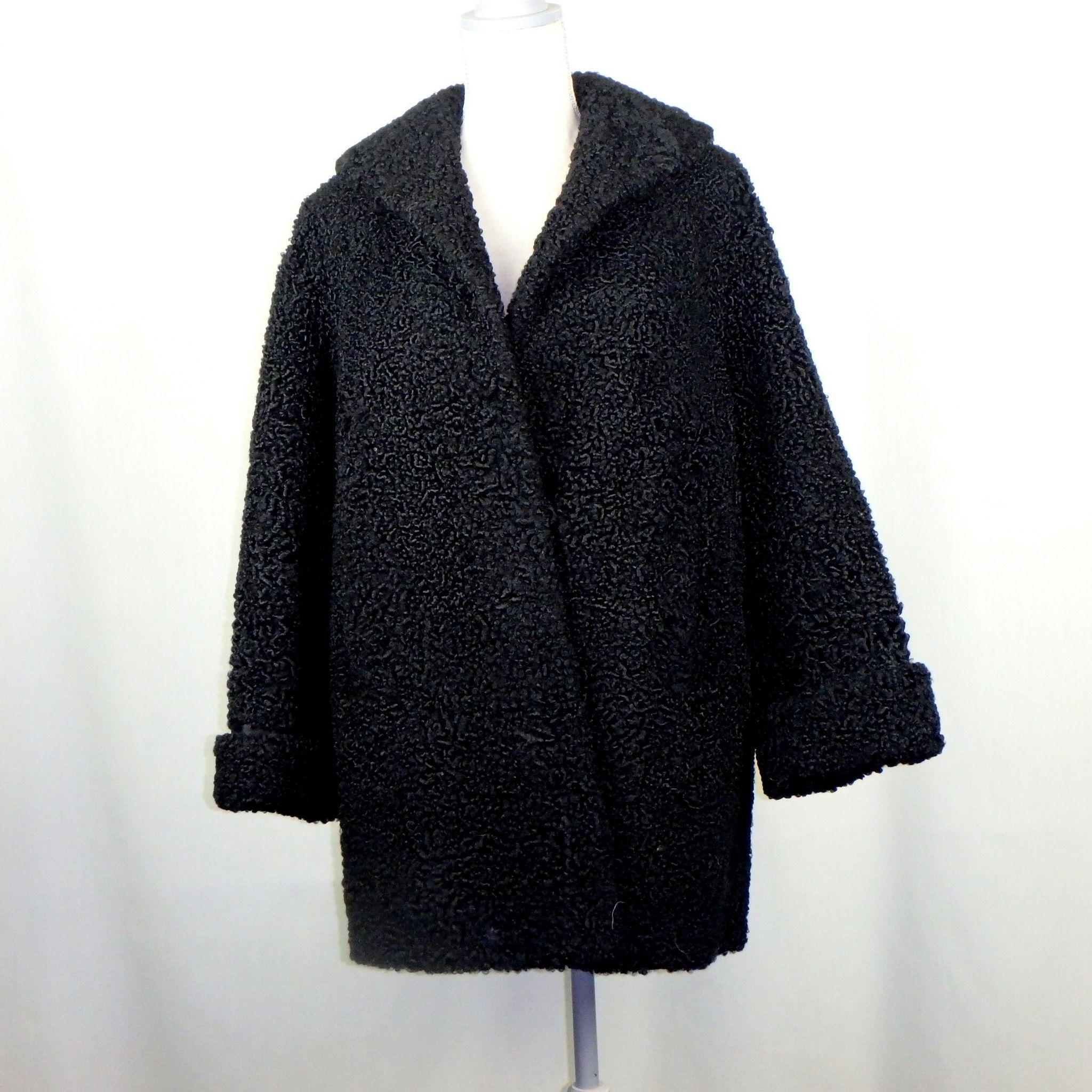 Vintage Black Curly Lamb Stroller Fur Coat from ...