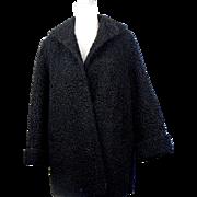 Vintage Black Curly Lamb Stroller Fur Coat