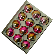 12 Mid-Century Pink and Gold Shiny Brite Christmas Ornaments