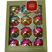 12 Mid-Century Blue Gold and Pink Shiny Brite Christmas Ornaments