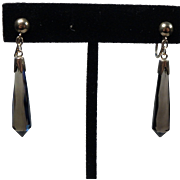 Vintage Briolette Smoky Quartz and 18 K Gold Earrings