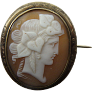 Antique Late Georgian Shell Cameo Brooch with Roman Goddess or Woman