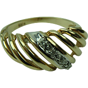 Vintage Mid-Century 10K Yellow Gold with Diamonds Shrimp Ring