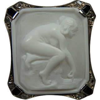 Antique Edwardian Shell Cameo Brooch Pendant Nude 14K White Gold with Diamonds