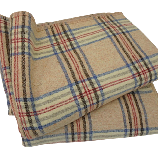 Pair Antique English Plaid Wool Twin Size Blankets Bedspreads Red Blue Black and Tan
