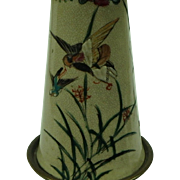 Vintage Hand-painted Satsuma Table Lamp with Birds and Flowers