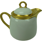 Vintage White and Gold Porcelain Tea Pot or Syrup Pitcher, Germany