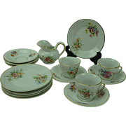 Vintage Child's Doll Tea Set with Pansies, Germany