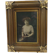 Antique Edwardian Gilt Wood Frame with Wedding Photo Portrait