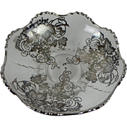 Vintage Mid-century Silver Overlay Glass Serving Dish with Grape Pattern