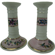 Pair Antique Porcelain Vanity Candlesticks with Hand-painted Flowers