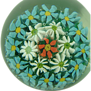 Vintage Paperweight with Flowers