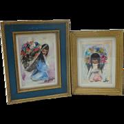 Pair Vintage DeGrazia Prints Navajo Children