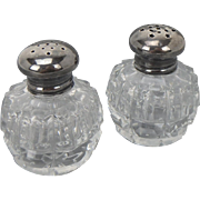 Antique Cut Crystal and Sterling Salt and Pepper Shakers