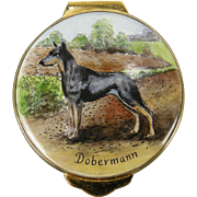 Doberman Dog Hand-painted Enamel Trinket Box, 1982 by Payne
