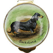Dachshund Dog Hand-painted Enamel Trinket Box, 1982 by Payne