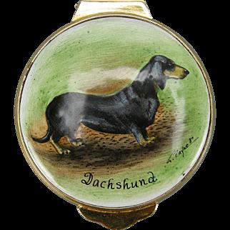 Dachshund Dog Hand-painted Enamel Trinket Box, 1982 by Payne