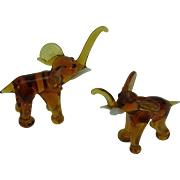 Miniature Glass Elephants Vintage Pair