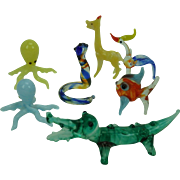 Miniature Glass Animals Vintage set of 7, giraffe, alligator, bird, fish, 2 octopus, snake
