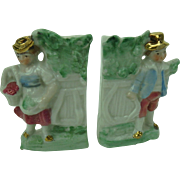 Fairing Vases Man and Woman with Apples Antique Germany