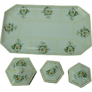 Dresser Tray Set Daisy Antique Prussia Porcelain 4 Piece