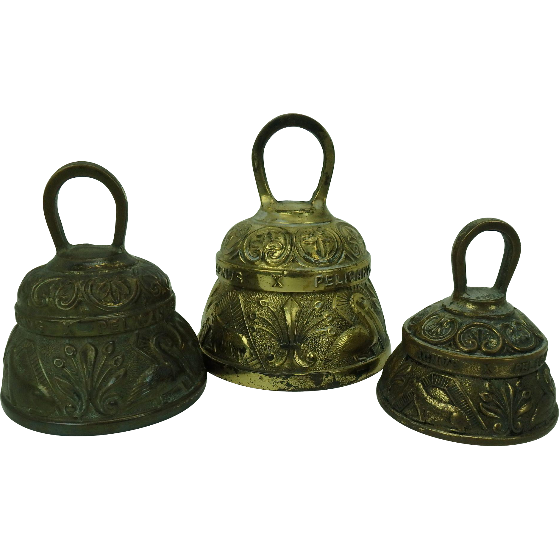Antique Medieval Bestiary English Christian Brass Bells, set of 3