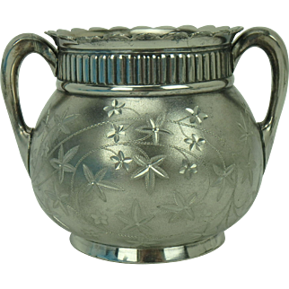 Pairpoint Silverplate Bright Cut Sugar Bowl Antique