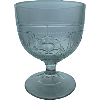 EAPG Antique Buttermilk, Goblet or Open Sugar with Flower