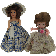 Two Vintage Hard Plastic Small Dolls
