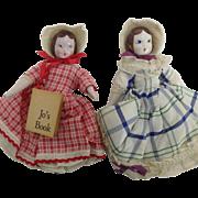 Two Vintage Little Women Porcelain Head Dolls, Little Jo