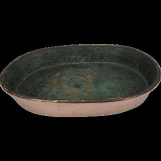 Antique Copper Oval Pan, no handle