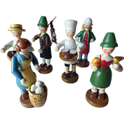6 Vintage Carved Wooden Figures, Czechoslovakia Christmas Garden