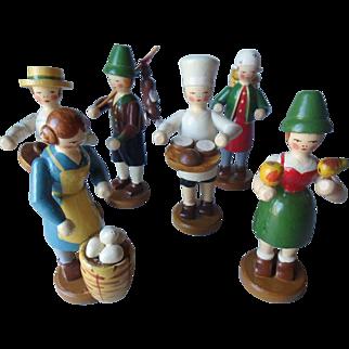 6 Vintage Carved Wooden Figures, Czechoslovakia Christmas Garden