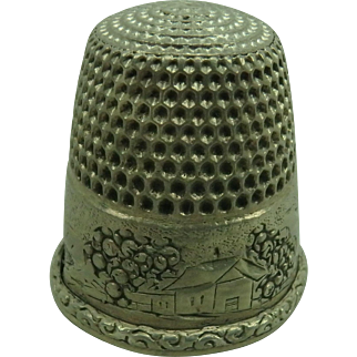Antique Simons Bros. Sterling Thimble Alice size 11