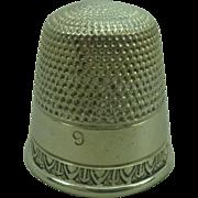 Antique Silver Thimble size  9
