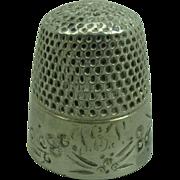 Antique Silver Thimble, monogram TEP