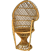 "Rattan or Wicker 16"" Peacock Style Doll Chair"