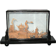 Chinese Carved Cork Wood Scene in Glass Case