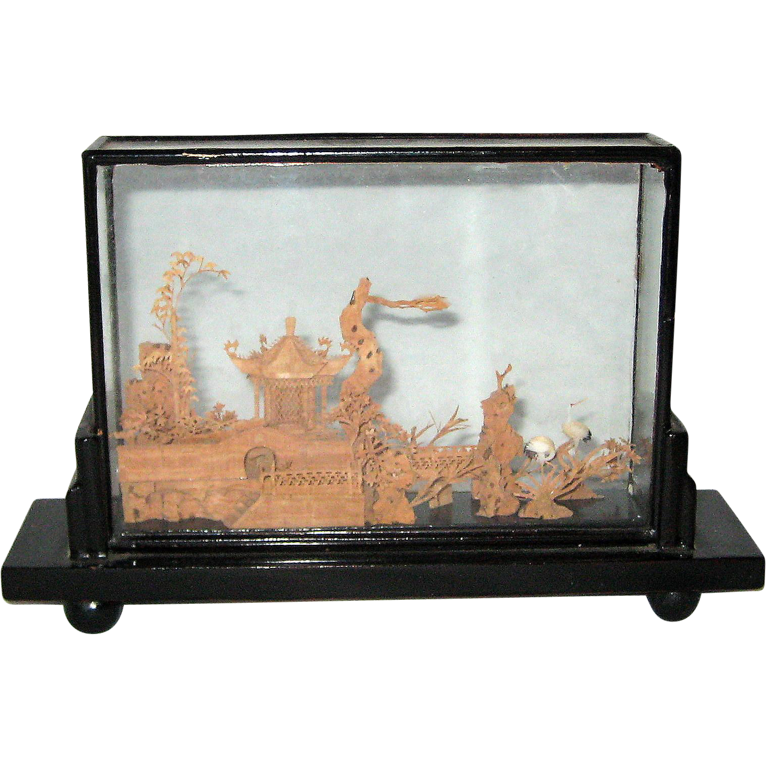 Chinese carved cork wood scene in glass case from for Wood in chinese