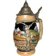Old Stoneware Pottery German Beer Stein with Pewter Lid - Lucerne, Switzerland