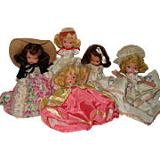 Collection of Five Nancy Ann Storybook Dolls in Need of Love and Care - Extra Clothes