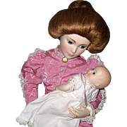1986 Franklin Mint Heirloom Doll - A Mother's Love - Victorian Lady and Infant 18""