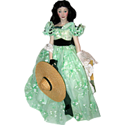 "18"" Porcelain Franklin Mint Heirloom Doll - Vivien Leigh as Scarlett O'Hara in Gone with the Wind"