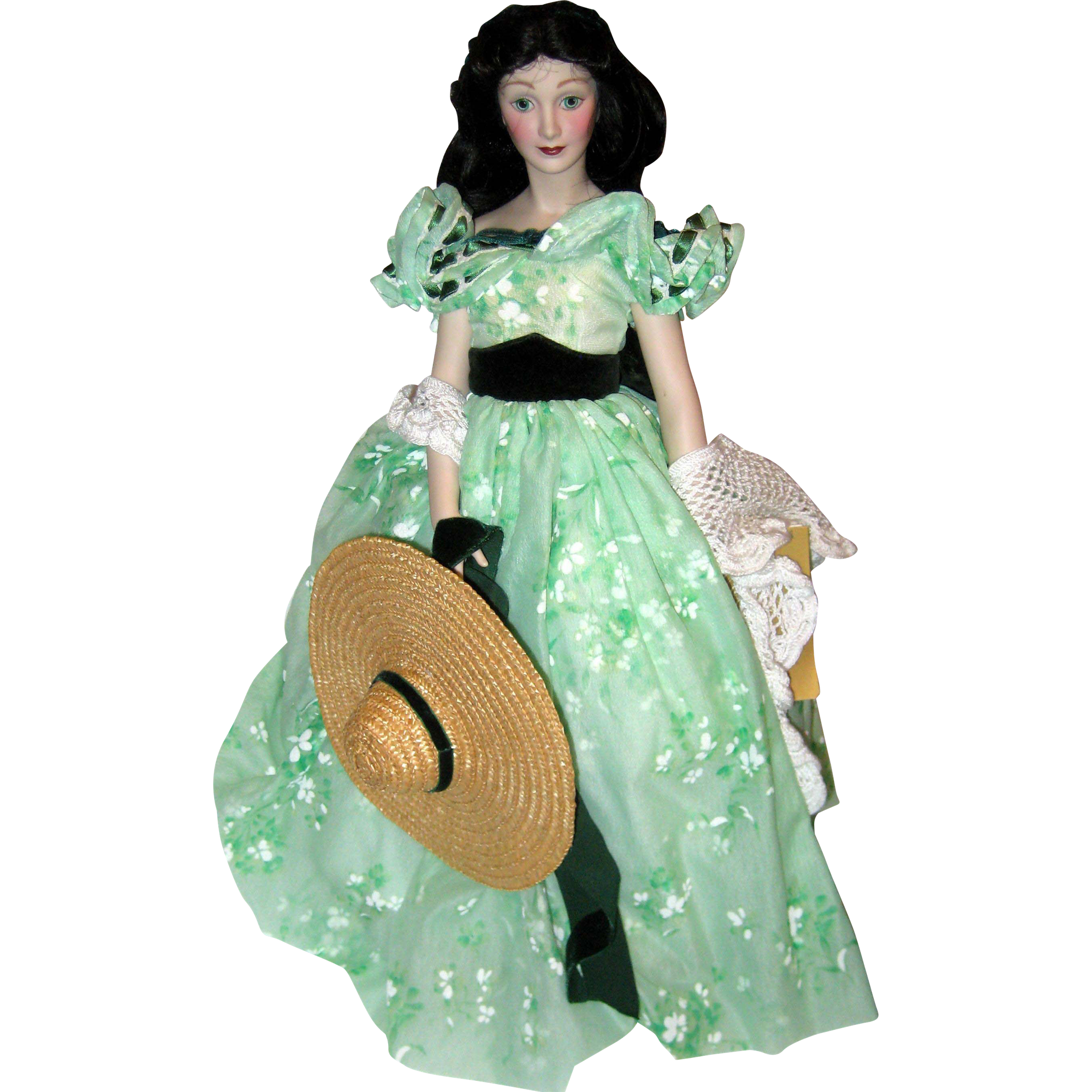 """18"""" Porcelain Franklin Mint Heirloom Doll - Vivien Leigh as Scarlett O'Hara in Gone with the Wind"""